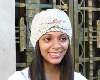 Crochet Beanie Hat, Crochet Cap, Crochet Spiral Hat, Color is Linen