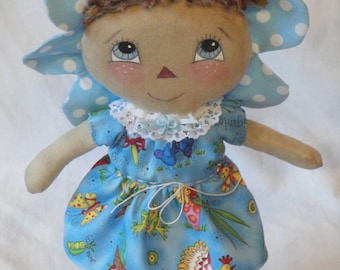 Flower Cloth Art Doll dressed in a summer garden theme, hand made flower doll by Morning Mist Designs