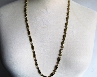 Vintage 80s D'Orlan Necklace Gold Tone Fish Chain Link Evening Party Necklace