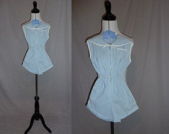 70s Girls Romper - Blue White Gingham Check - Zip Front - One Piece Outfit - Vintage 1970s - 7