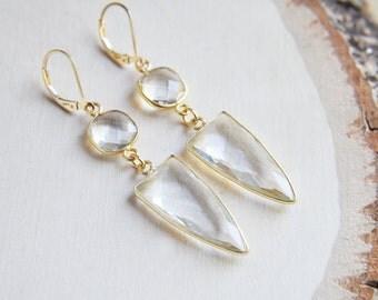 Dagger Earrings, Spike Earrings, Point Earrings, Everyday Earrings, Boho Earrings, Quartz Point Earrings, Clear Quartz Earrings, Wedding