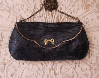 SALE Free shipping, Small black leather clutch with ribbon