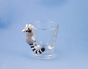 Hand Sculpted Ring-tailed lemur 1.5 oz Shotglass