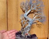 Wire Tree Of Life sculpture, Peace of Mind Windy Grove, Uruguay Amethyst Quartz Crystal, Carnelian, Citrine, Peridot, Blue Kyanite art, 11