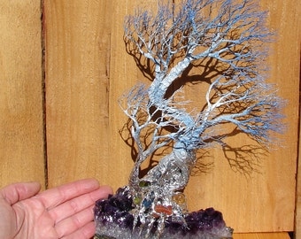 "11 "", Wire Tree Of Life sculpture, Peace of Mind Windy Grove, Uruguay Amethyst Quartz Crystal, Carnelian, Citrine, Peridot, Blue Kyanite art"