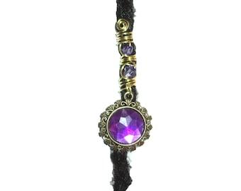 Purple crystal dreadlock bead brass