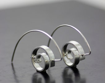 "Modern dangle earrings - unique threader - sculptural sterling silver ""double orbit"" circle earrings - handmade by lolide"