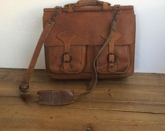 Rustic Leather Briefcase Satchel ~ Vintage Brown Portfolio Satchel Messenger Bag