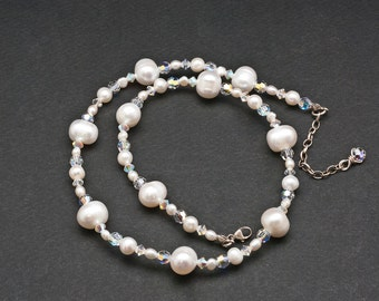 White Pearl and Crystal Clear Necklace, Elegant Sparkly Party Necklace, Bridal Necklace, Pearl Wedding/Anniversary, Crystal Jewelry Gift