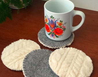 Cabled Coaster Set- Reclaimed Wool Felt