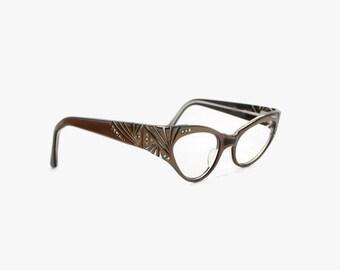 Vintage 50s Glasses FRAMES / 1950s WINGED CATEYE Frame France Rhinestone Etched Wing Eyeglasses