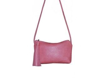 Leather iPhone Purse Pink Leather, Phone Purse, Small Crossbody Purse, Minimalist Bag,