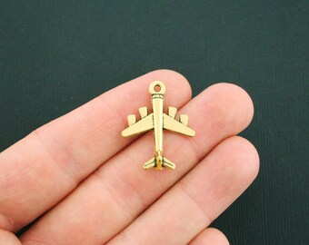 5 Airplane Charms Antique Gold Tone 2 Sided - GC813