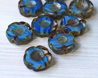 6 Czech Glass Beads 14mm Hawaiian Pansy Flower Blue Tones - CB9