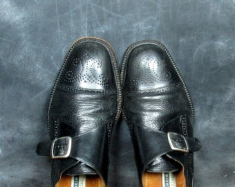 Vintage Leather Wingtip Slip On Loafers - 1980's Buckle Oxfords - Men's 80's Black Leather Spectators - Size 11 Euro 45 UK 10 1/2