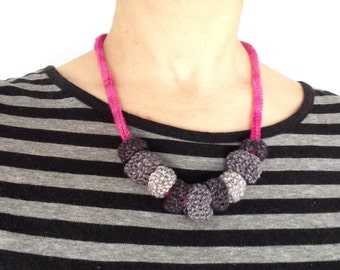 Knit necklace in pink and greys - ON HOLD