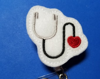 Heart Stethoscope - Nurse - Doctor - PA - RN - Name Badge Reel with Clip