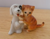 Pair of Dog and Cat Ornaments - Vintage Ceramic Pets