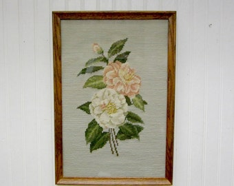 Framed Floral Camellia Flower Completed Needlepoint Picture Wall Art