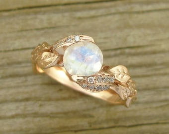 Unique Engagement Ring, Leaf Ring With Moonstone, Rose Gold Moonstone Ring, Rose Gold Moonstone Leaf Ring, Rose Gold Leaves Ring, Rose Gold