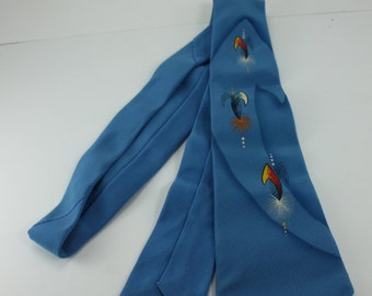 Vintage Hand Painted Tie Men's Tie Necktie Cravat 40s 50s Bright Blue Regal Wedding Accessory Atomic Rockabilly Swing Gift For Dad