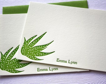 Personalized Letterpress Stationery Succulents Forest Green