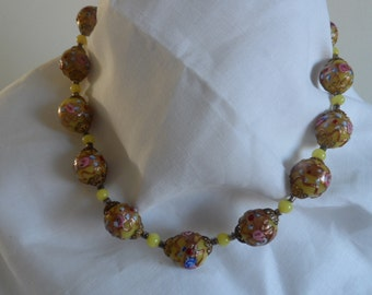 Vintage High Quality Venetian Wedding Cake Bead Necklace