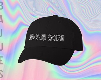 BAJUES Sad Boy Black Dad Hat
