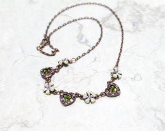 Heart and Flower Swarovski Crystals Necklace in Green and Fuchsia