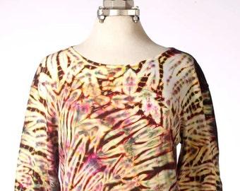 XL Shibori Long Sleeve Women's Tie Dye T-Shirt Hand Dyed Browns WarmEarth