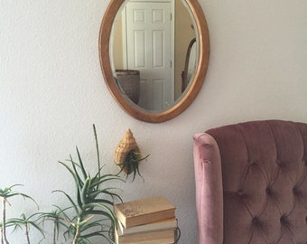 vintage beveled carved solid wood oval wall hanging mirror