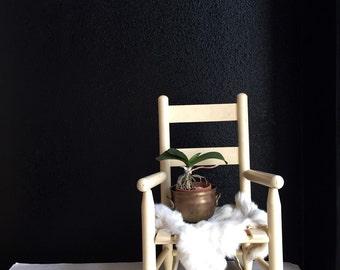 vintage children's white wooden rocking chair / baby nursery / kid's bedroom