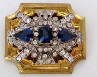 Signed McClelland Barclay Blue Crystal Rhinestone Brooch Gold Tone Large Art Deco Style