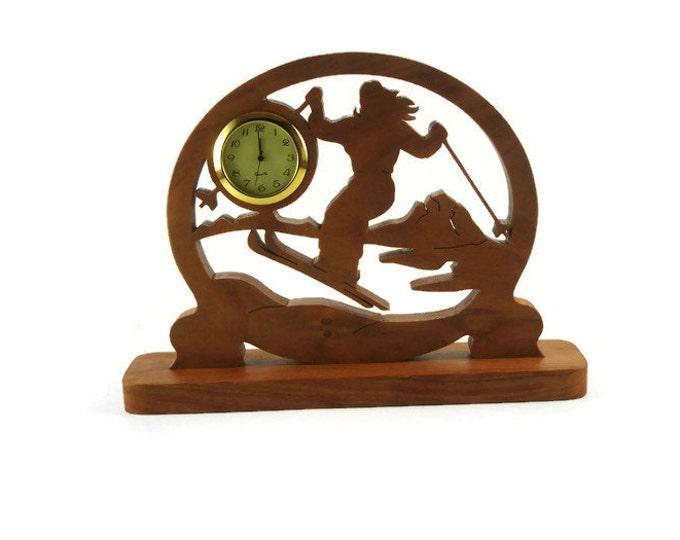 Female Ski Scene Desk Or Shelf Clock Handmade From Cherry Wood By KevsKrafts, Cross Country Skier, Downhill Skiing