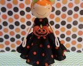 Heather Halloween Miniature Wooden Clothespin Doll