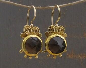 24k Fine  Gold Earrings with Smoky Topaz - Smoky Topaz Earrings - Ethnic Gold Earrings - Gold Smoky Topaz Earrings