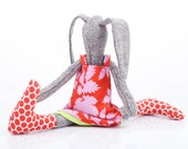 Whimsical doll , Easter bunny doll , fabric Doll , stuffed rabbit , rabbit plush toy , toddler gift , ragdoll toy , soft doll , huggable toy