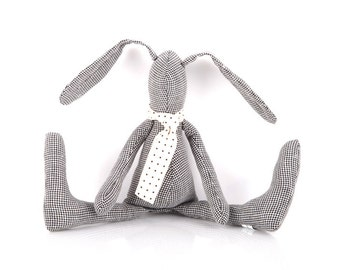 Houndstooth black white stuffed bunny doll ,SMALL plush softie Baby rabbit doll in a scarf - eco cloth hare doll Easter bunny birthday gift