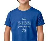 Periodically Inspired I EAT TACOS PERIODICALLY Periodic Table Junior Tee Shirt - Boston Kid's T-Shirt (Vintage Royal Blue)