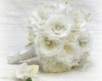 Silk flower bouquet white wedding bouquet set crystal bouquet rhinestone bouquet set pearl wedding bouquet alternative bridal bouquet sets