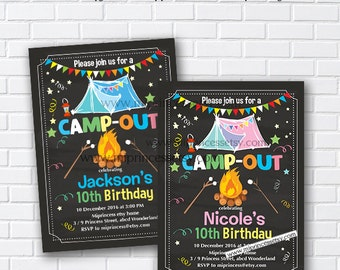 Camping invitation, Bonfire Birthday Invitation, Campfire , Campout Birthday Invitation, kids bonfire party, 8th 9th 10th 30th any age - 883