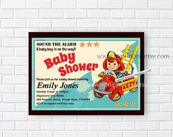 Fire truck Baby Shower Fireman, Fire Engine, Retro baby shower invitation baby boy vintage invitation - card 822