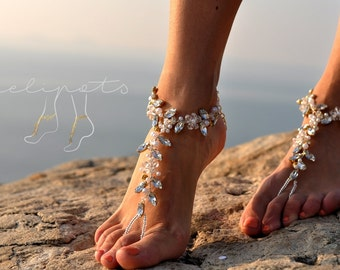 Beach Wedding Barefoot Sandals,Bridal Pearl Beaded Jewelry,Boho Slave Anklet,Soleless,Wedding Anklet,Bridesmaid Accessories,FIFI design