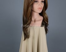 Brown Ombre Wig /Long Lace Front Wig Center Part /Fashion Beauty Kylie Beyonce Costume Cosplay Dark Root Blonde Halloween Drag /Lady Series