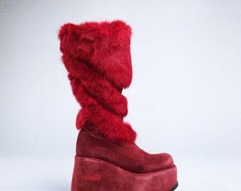 90's El Dantes Mega Platform Red Fur and Leather Wave Wedge GoGo Rave Boots // 8.5