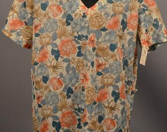 Vintage NWT Deadstock Sears Flora Vneck Blouse 1970's