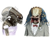 "ALIEN LOVES PREDATOR, wedding, anniversary, love, mothers day, Greeting Card, 4.25"" x 5.5"", Blank inside, sci-fi"