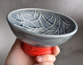 Shaving Bowl Ready To Ship Gray Random Lines Lather Shave Bowl by Symmetrical Pottery