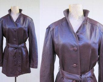 Vintage 1970s Coat / 70s Boho Oxblood Leather Belted Coat / Medium