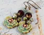 Watercolor Flowers Victorian Burgundy Green Ceramic Charms Antique Brass Aquamarine Czech Glass Earrings